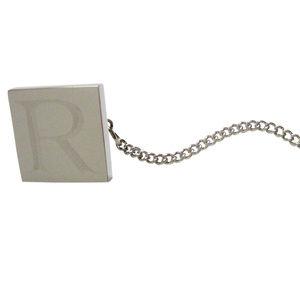 Letter R Etched Monogram Pendant Tie Tack